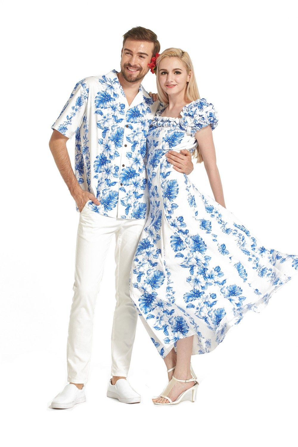 7d801aed02 Made in Hawaii Couple Matching Shirt and Short Sleeve Muumuu Dress in Blue  Floral in White