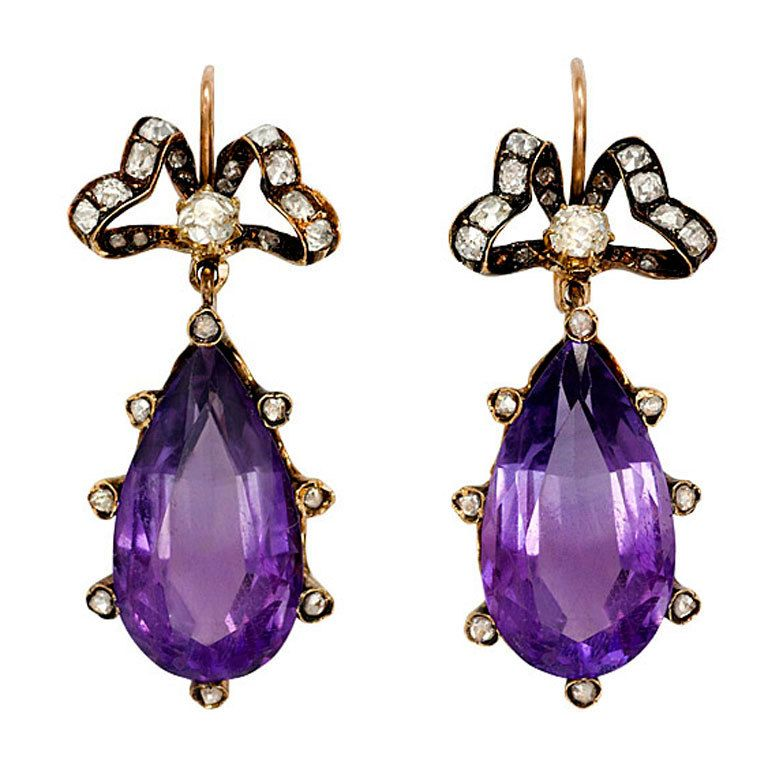 Amethyst and diamond drop earrings, 1880.