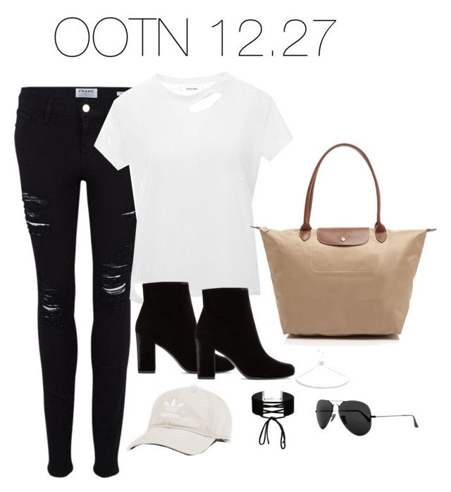 """""""Untitled #2947"""" by theaverageauburn on Polyvore featuring Frame, Anine Bing, Yves Saint Laurent, Longchamp, adidas, Miss Selfridge, BCBGeneration and Ray-Ban"""