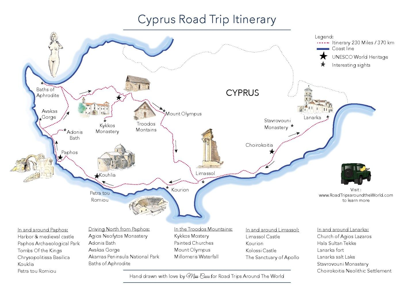 A road trip in cyprus free printable map gumiabroncs Choice Image