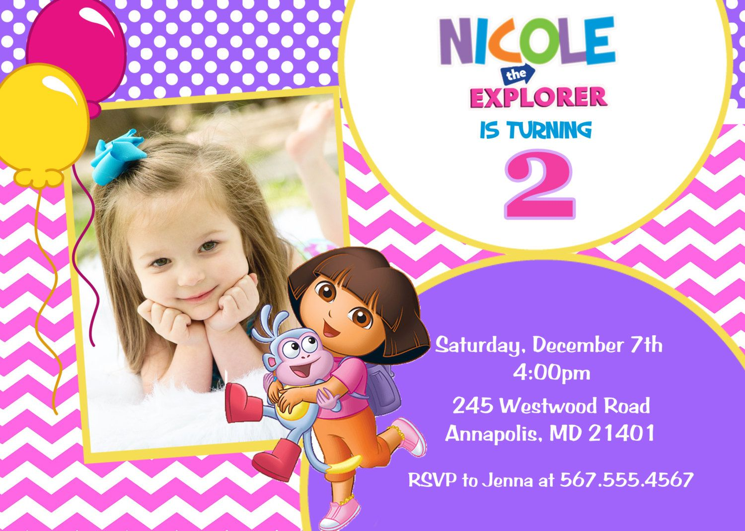 Dora the Explorer Birthday Party Invitation - Digital File | Party ...
