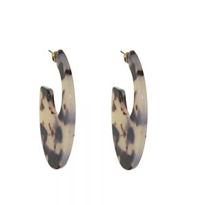 Statement Fashion Jewellery: 3/4 Hoop Earrings with Marbled Tortoise Shell Tone Design (5cm x 3.4cm) (M124)B)