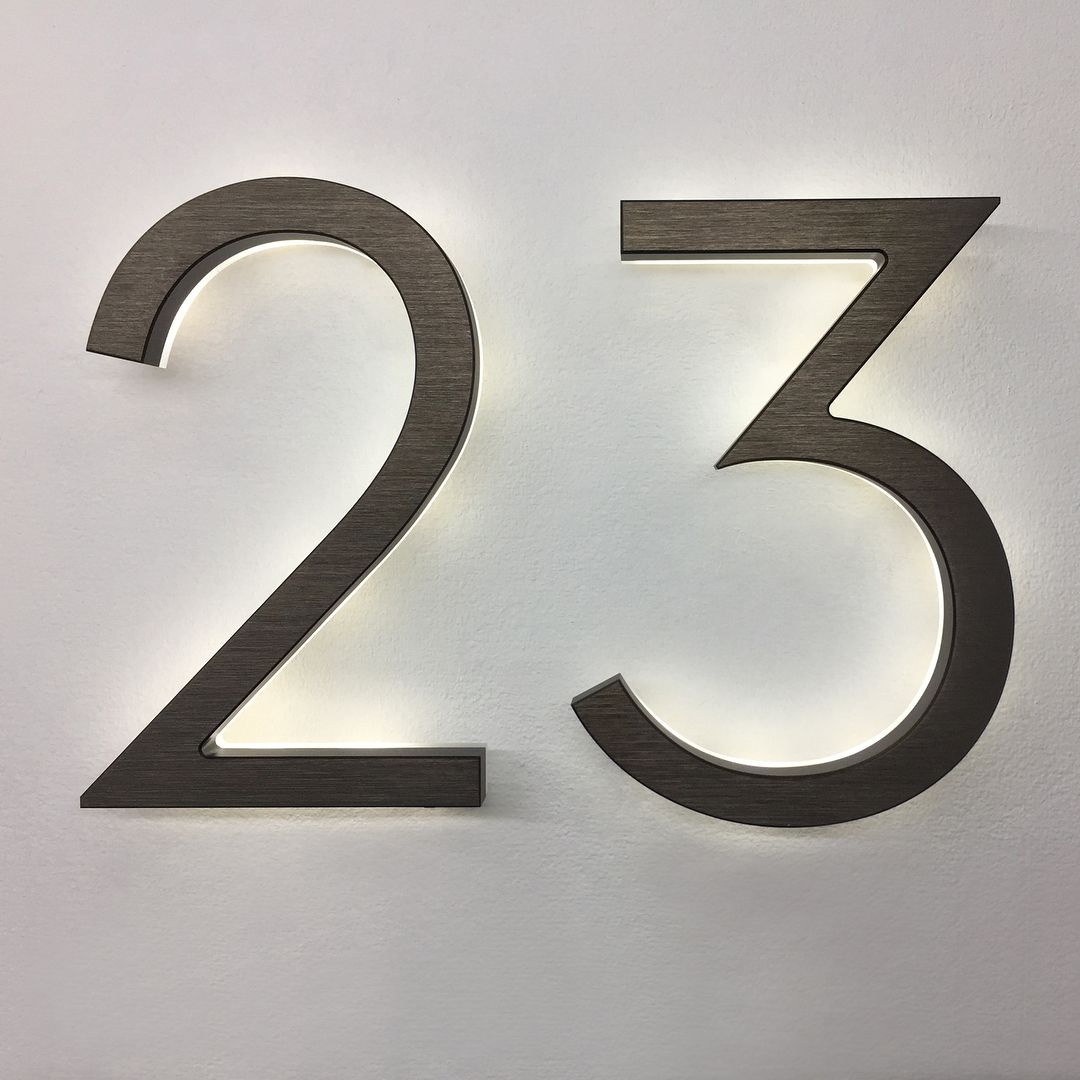 Luxello Led On Instagram The Modern 8 Inch Led Backlit Illuminated Neutra Numbers Finished In An A Illuminated House Numbers Led House Numbers House Numbers