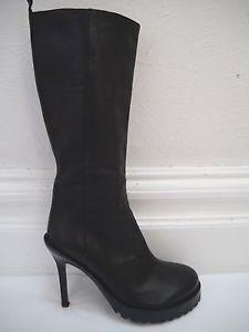 Ann DEMEULEMEESTER Black Leather heeled Boots Italian Size 36 Worn Once | eBay
