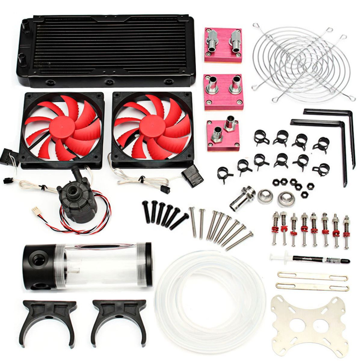 Water Cooling Kit 240 Radiator Cpu Gpu Block Pump Reservoir Tubing