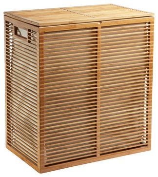 zen bamboo laundry hamper modern hampers by the container store