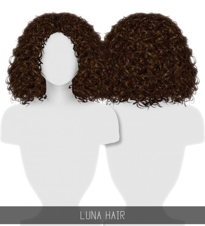 Luna Hair At Simpliciaty Sims 4 Curly Hair Sims 4 Afro Hair Sims Hair