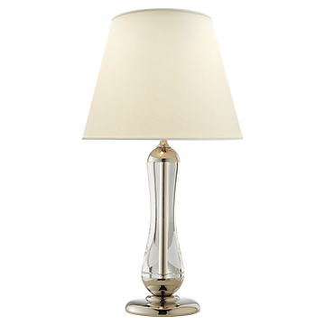 Oleta Large Table Lamp in Crystal and Polished Nickel with Natural Percale Shade