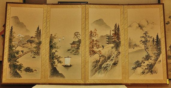 Japanese Silk Screen The Four Seasons Circa 1950s By Dldowns