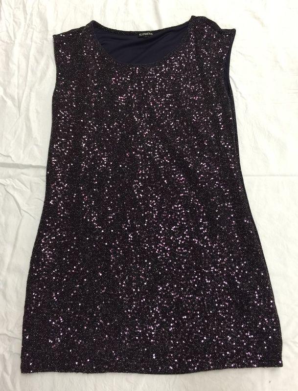 Purple sequin shift dress-size 6/8 $15.00 at www.closetrent.com
