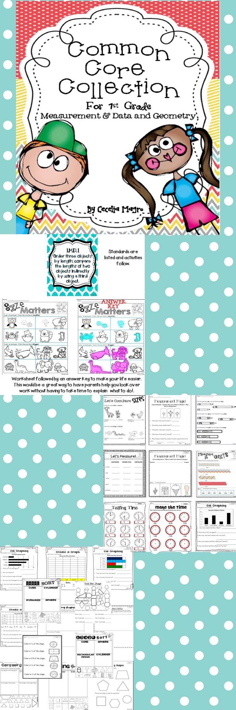 First Grade Math *Measurement & Data and Geometry* Common Core ...