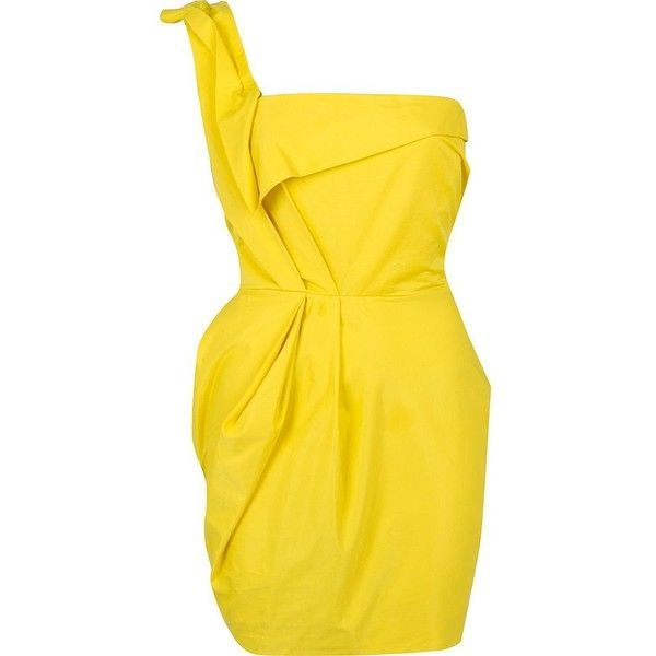 River Island Yellow one shoulder dress ($23) ❤ liked on Polyvore ...