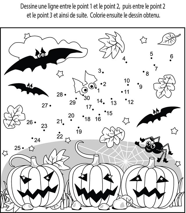 Relier les points de 1 à 30 | Halloween | Pinterest | Basteln