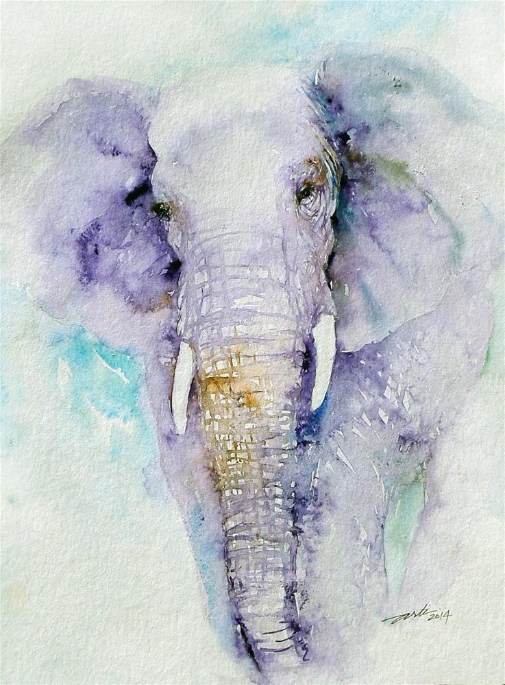 Dream Blues Elephant Original Fine Art By Arti Chauhan