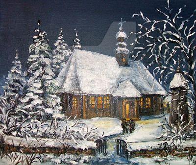 A church at night by JoannaPartyka.deviantart.com on @DeviantArt