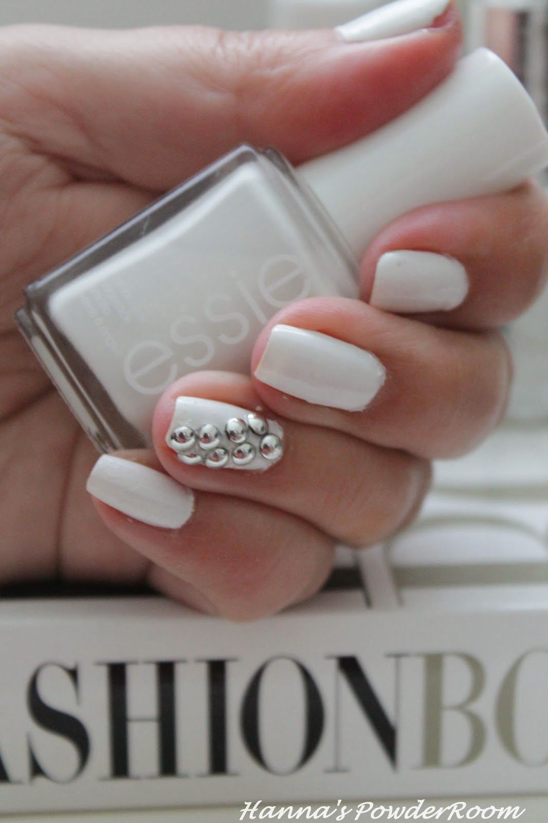 Essie Blanc Stud nails Hanna's PowderRoom Blog