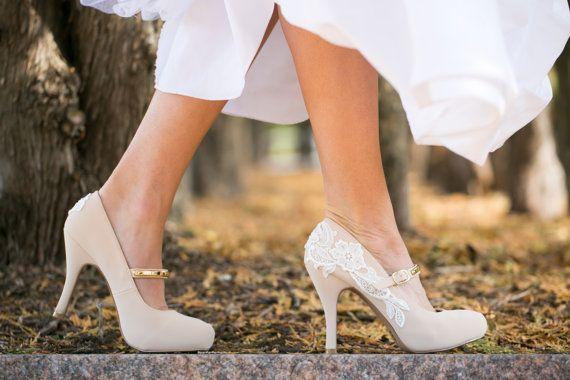 Wedding Heels - Nude Mary Jane Heels, Nude Bridal Shoes, Nude ...