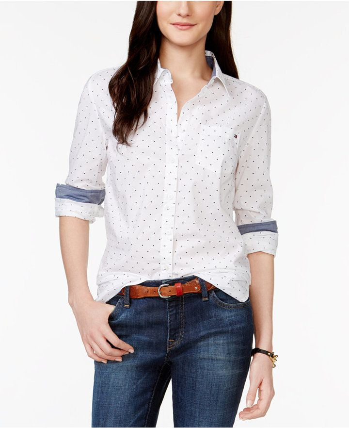 f7ca58726fe4 TOMMY HILFIGER DOT-PRINT SHIRT, women, clothing, fashion, style, clothes,  summer fashion