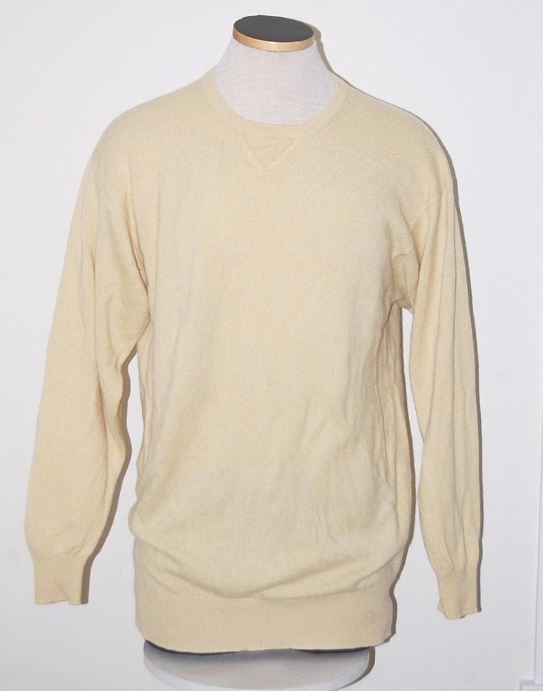 1739989ff4 Best of Scotland 100% Cashmere 3ply Yellow Crewneck Sweater S ...