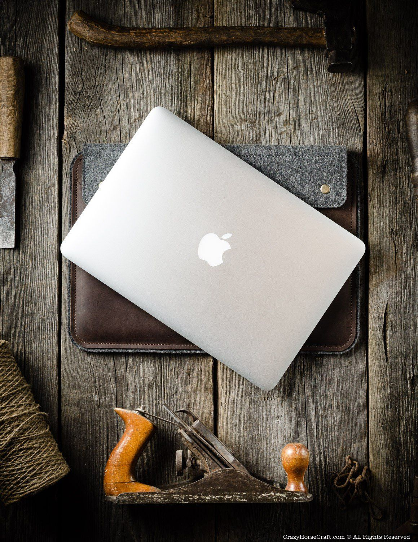 Leather MacBook Pro/Air Case Wood Brown Кожа поделки