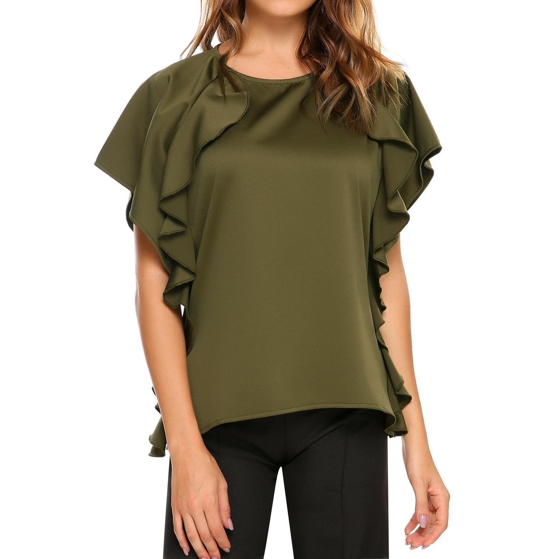 032de59118 Womens Ruffle Tops Short Sleeve Shirts Ladies Satin Summer Trendy Blouses  S-XXL - Green - CM18444A2AM,Women's Clothing, Tops & Tees, Blouses &  Button-Down ...