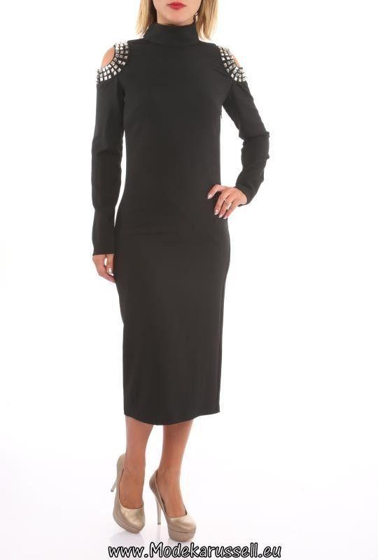 Designer Langarm Kleid Wadenlang Laila Schwarz