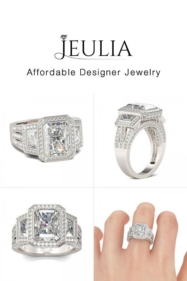 a6e2f606394ab9 Three Stone Halo Radiant Cut Created White Sapphire Engagement Ring - Jeulia  Jewelry