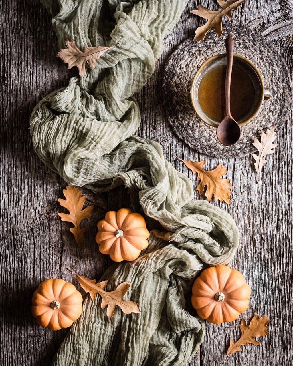 Instagram | keepingwiththetimes - #aesthetic #autumn #leaves #mug #pumpkins #tea