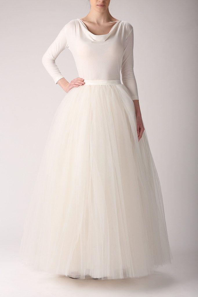 Maxi Tutu Tulle Skirt Petticoat Ecru Wedding