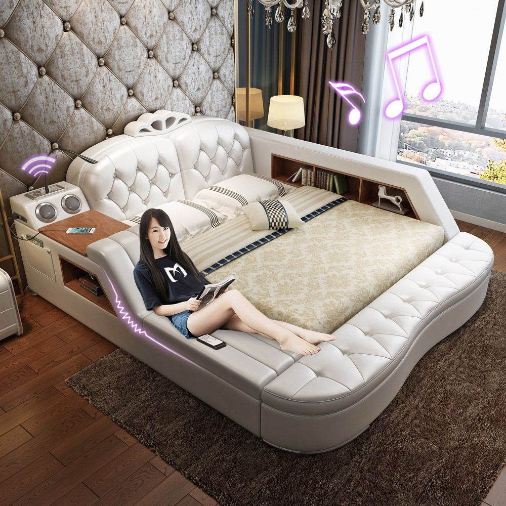 Massaging Leather Bed Tatami Bed Leather Art Bed Storage Bed