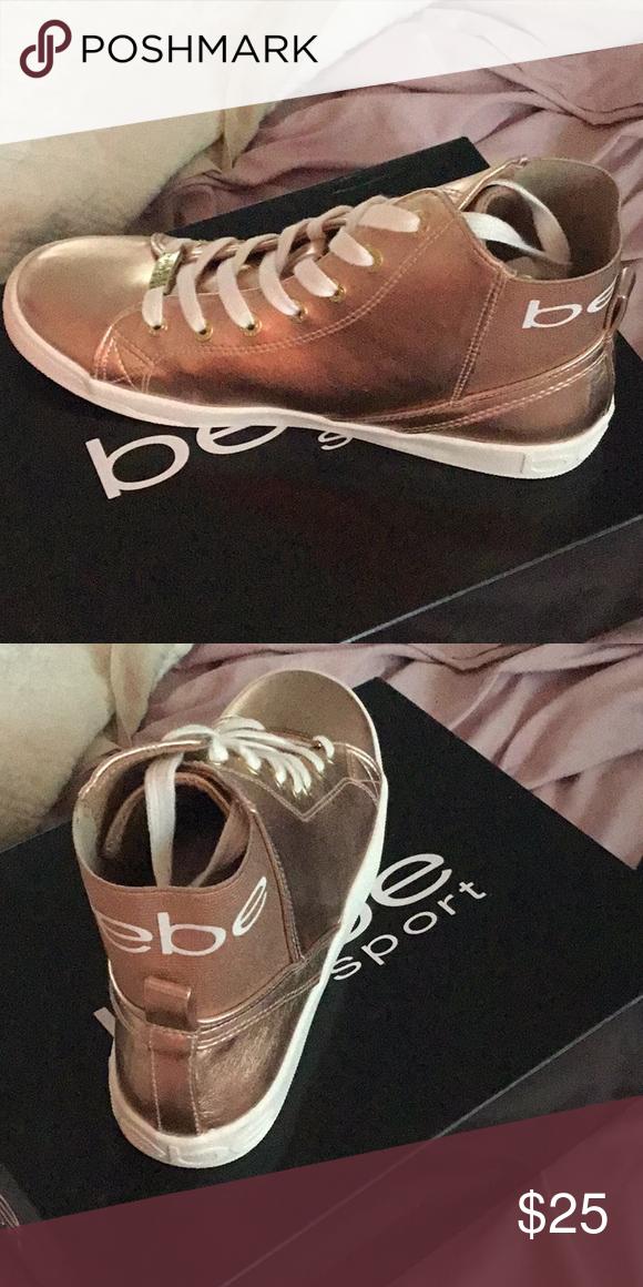 Bebe Hightop sneakers, Rose Gold New in box! Bebe Rose Gold ...