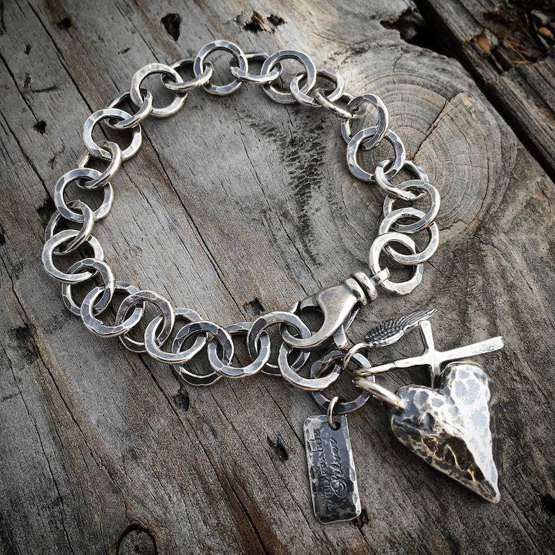 Sterling Silver Heart Bracelet Handmade By Wild Prairie Silver | Etsy