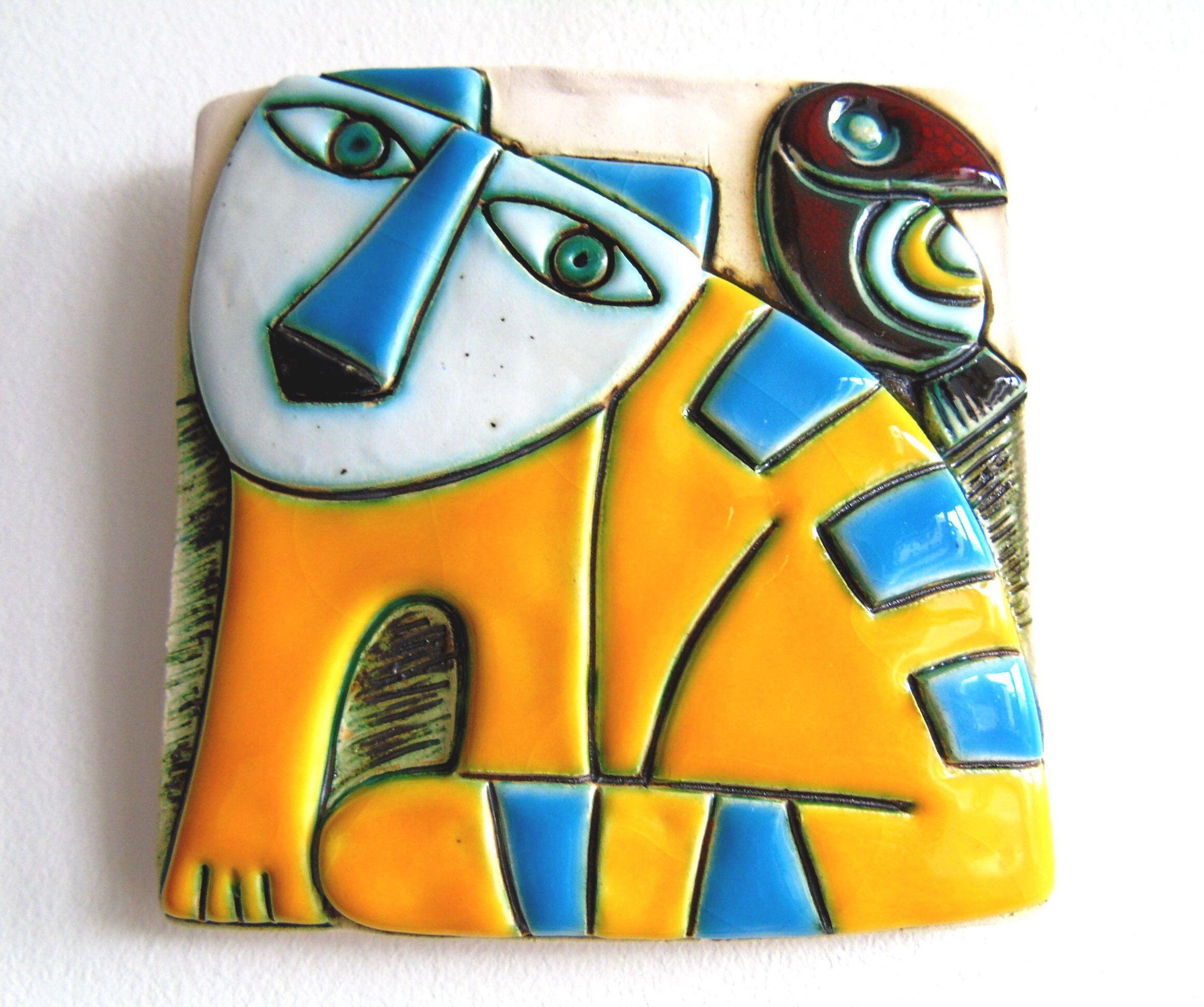 Handmade Ceramic Art Tile,Wall Art,Home Decor,Yellow Cat | Art tiles ...