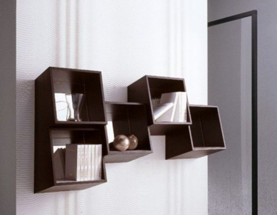 Modern Stylish Wall Mounted Decorating Furniture Book Shelves Idea Featuring Wall Mounted Wooden Chocolate Bookshelf Design Contemporary Bookshelf Shelf Design