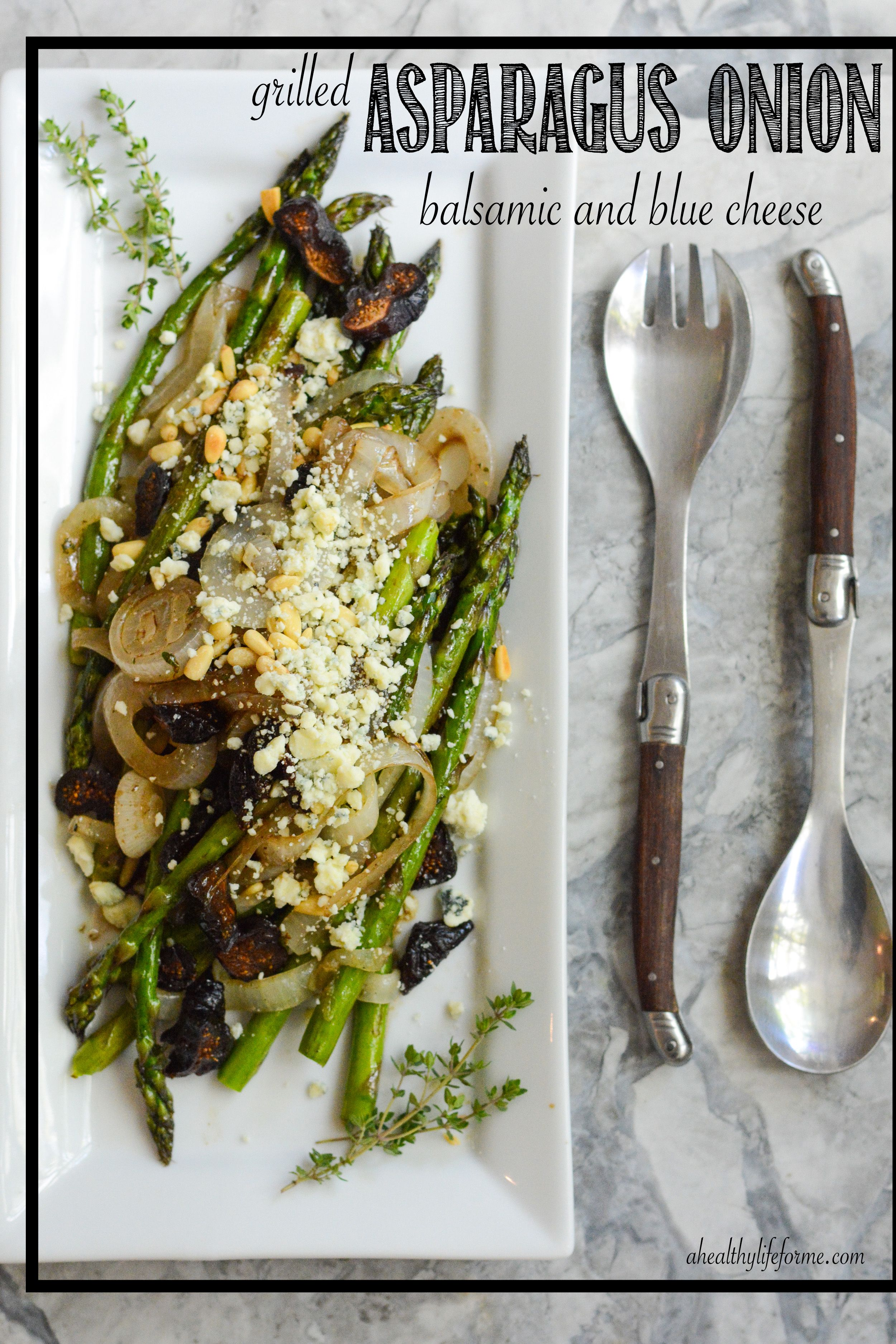 Grilled Asparagus Onion Balsamic Blue Cheese. (Can use persian feta in place of blue cheese) + add balsamic cream on top.