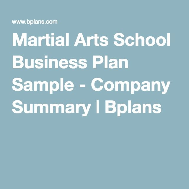 Martial Arts School Business Plan Sample  Company Summary