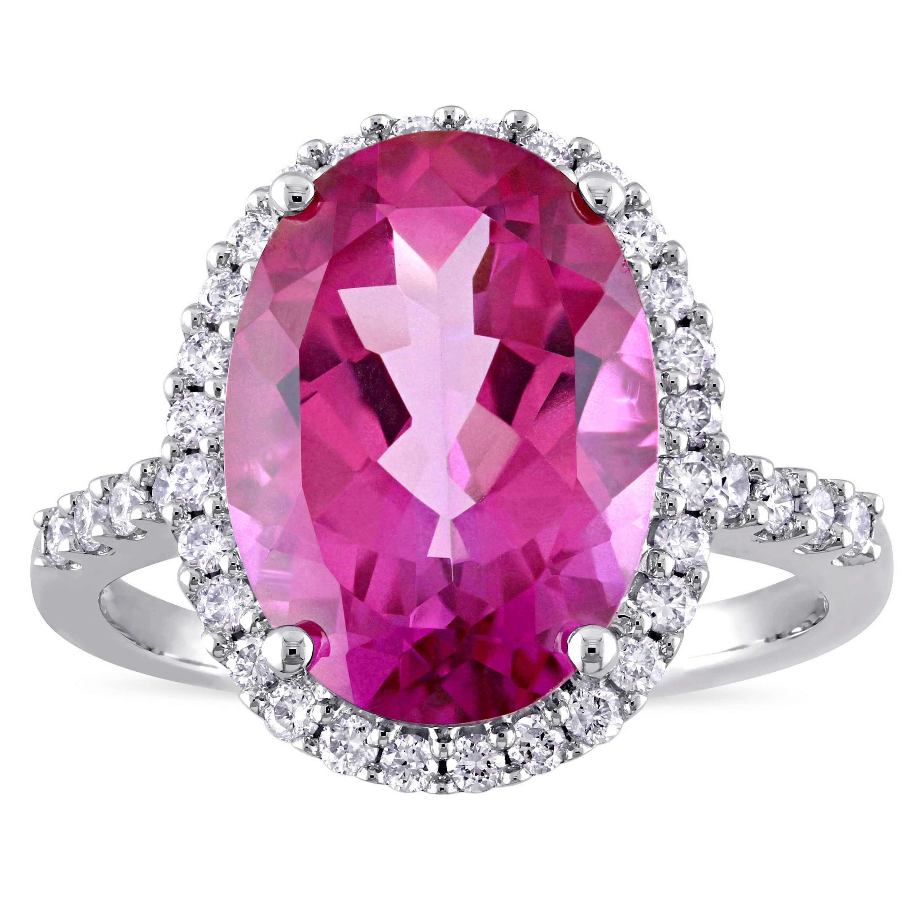Miadora Signature Collection Oval-Cut Pink Topaz and 3/8ct TDW ...