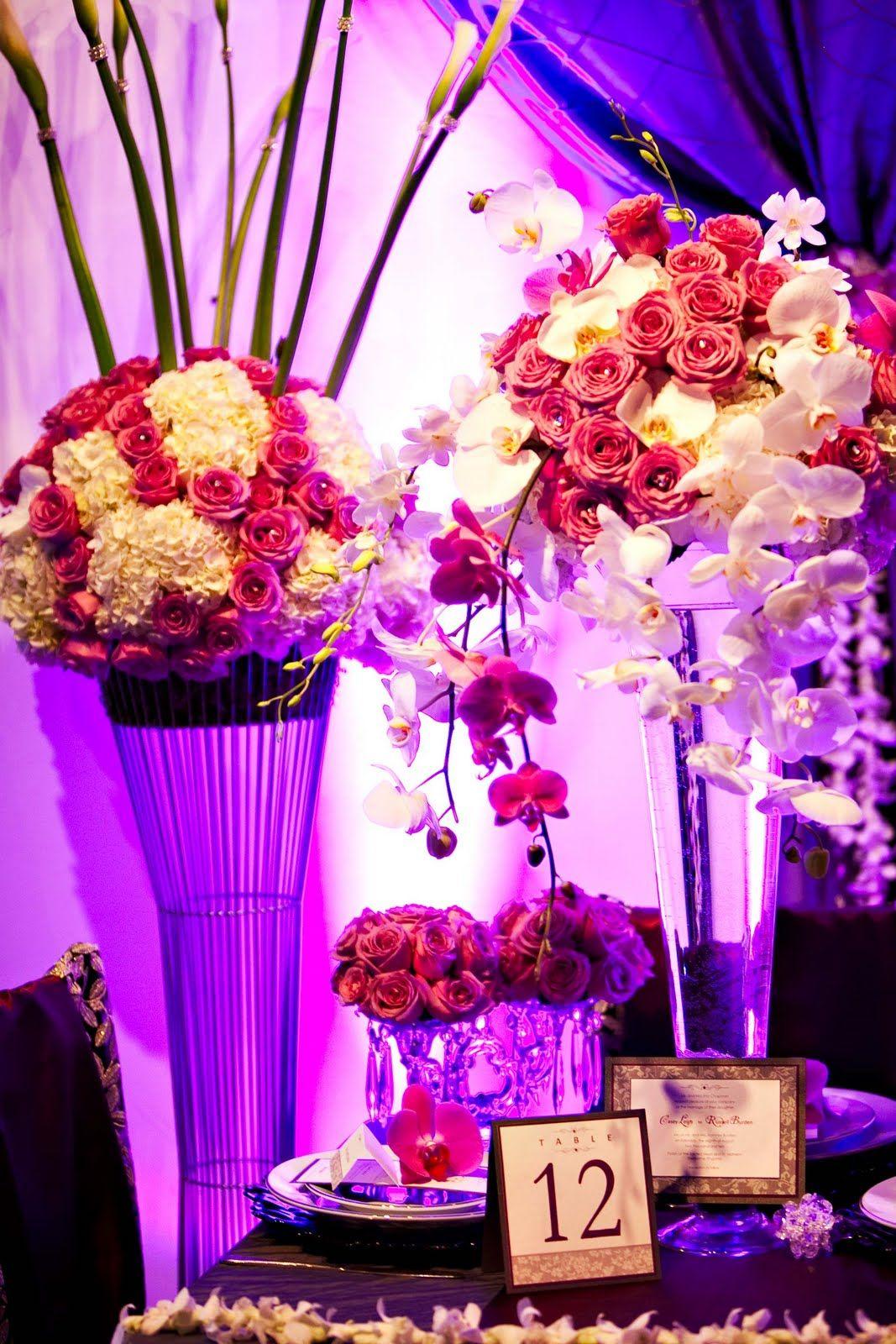 purple and white wedding reception centerpiece by Lisa Husmann ...