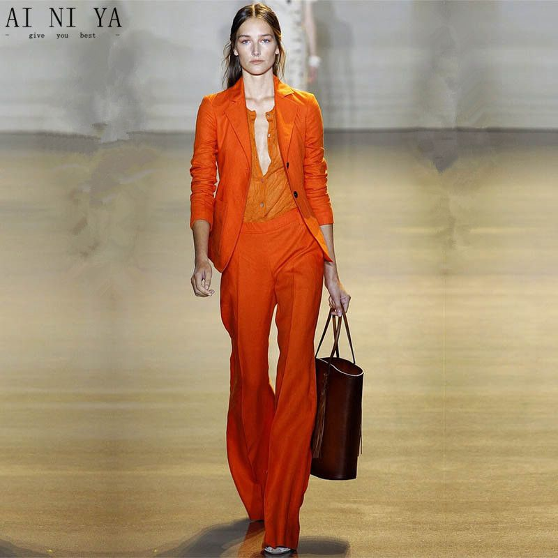 Orange Women S Pants Suit