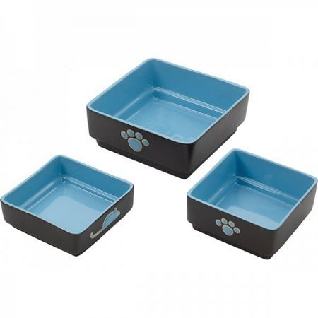 Ceramic Four Square Dog Dish Blue 5-Inch, Ethical Products - Modern, Heavyweight Square Ceramic Dish Features Colorful Decorative Pawprint Accents And Interior.  Heavy Construction Prevents Spills And Allows Your Pet To Access Food Or Water With Ease.  Distinctive Square Design With A Dark Brown Exterior And Contrasting Inner Color.