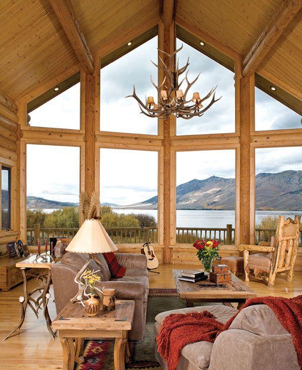 Island park idaho milled log home plan building log for Log cabin window