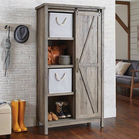Better Homes And Gardens Modern Farmhouse Storage Cabinet Rustic Gray Finish At