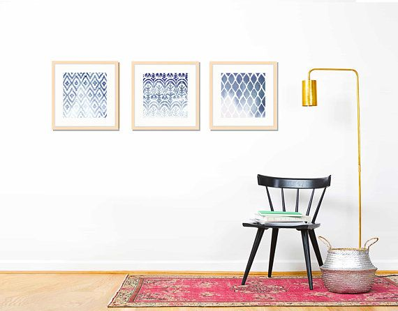 Ikat Print, Set of Three Framed Prints, Indigo, Wabi Sabi Decor ...
