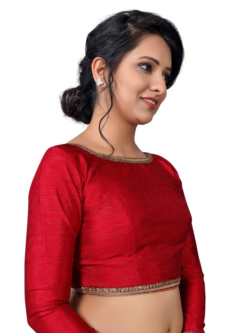 1d5ad6a69f Maroon Raw Silk Blouse with Zari   bh   Saree blouse, Blouse, Raw ...
