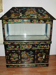 Beautiful Oriental Asian Design Aquarium Stand W Custom 75 Gallon Glass Tank Aquarium Stand Fish Tank Stand Cool Fish Tanks