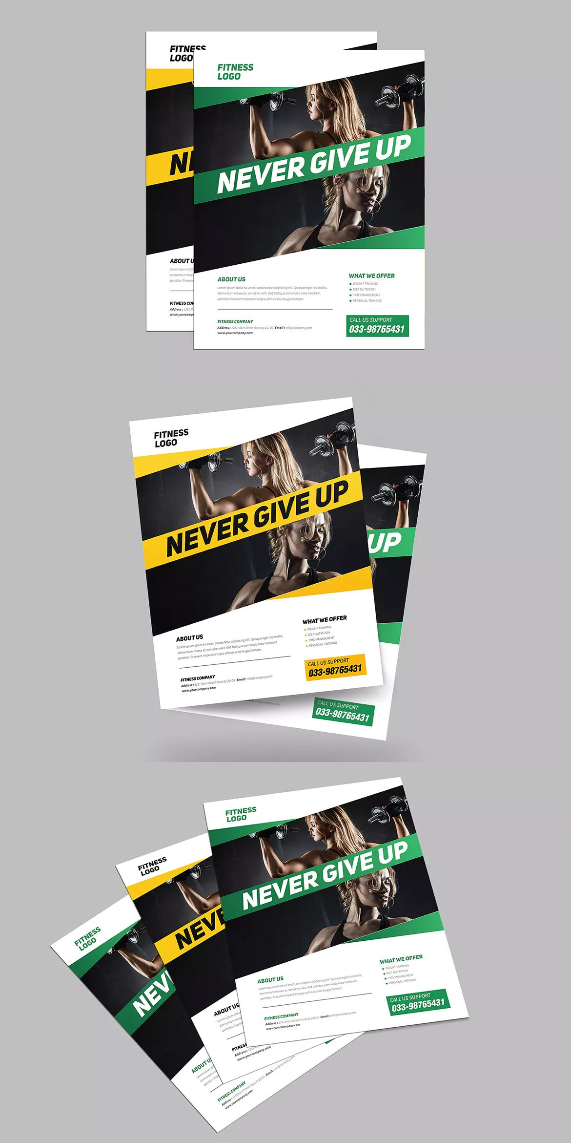 Professional Fitness Flyer Template AI PSD