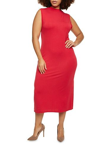 Plus Size Sleeveless Midi Dress with Mock Neck,RED