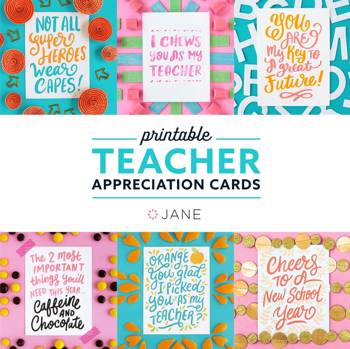 Jane Com Free Teacher Appreciation Printable Cards Appreciation Printable Teacher Appreciation Cards Teachers Day Card
