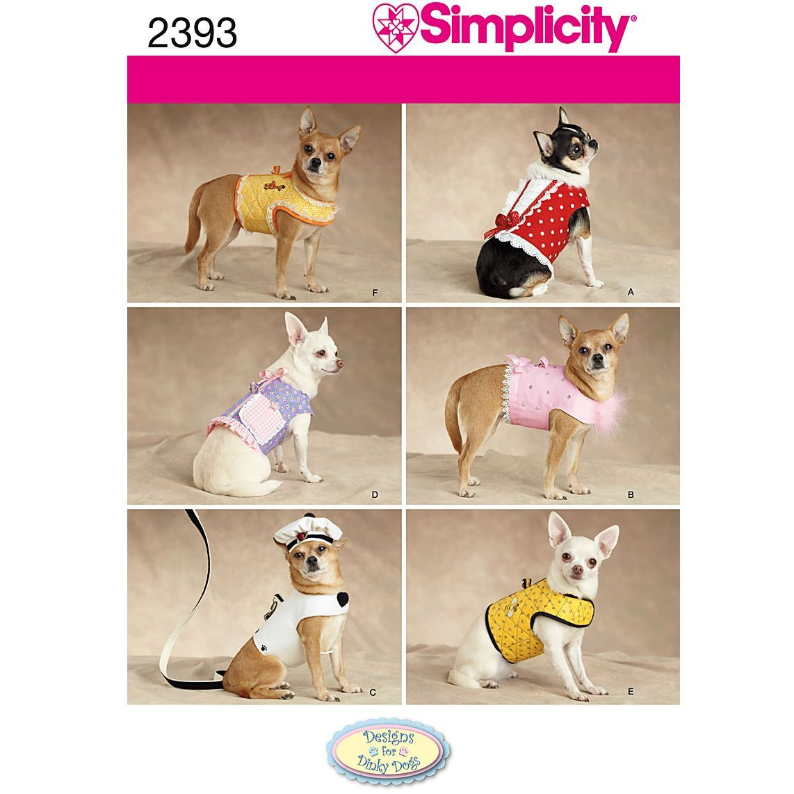 Simplicity Dog Outfit Sewing Pattern 2393 Small Dog Clothes
