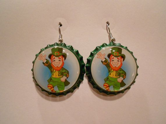 Leprechaun St. Patrick's day bottle cap earrings by goldylyon
